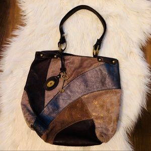 Fossil leather suede patchwork key-per